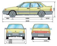 Габаритные размеры модели ВАЗ 2115